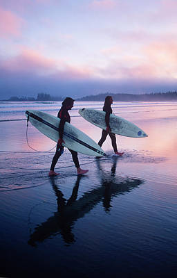 Photograph - Two Young Male Surfers Walking With by Chris Cheadle