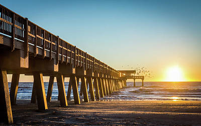 Photograph - Tybee Beach Pier Sunrise by Framing Places