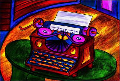 Painting - Typewriter by Hugo Heikenwaelder