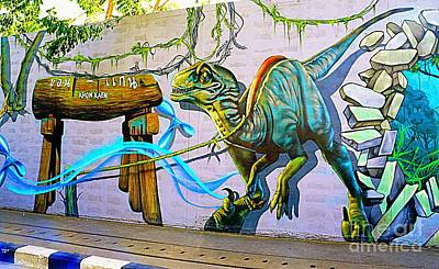 Photograph - Velociraptor Urban Graffiti by Ian Gledhill