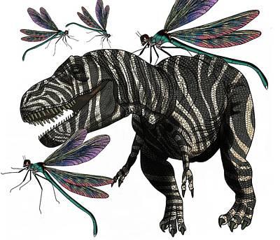 Digital Art - Tyrannosaurus And Dragonflies by Joan Stratton