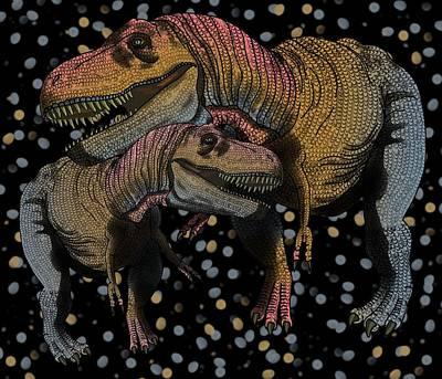 Digital Art - Tyrannosaurus Pair by Joan Stratton