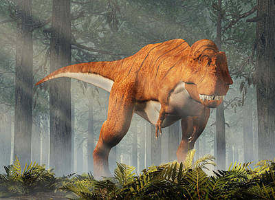 Thomas Kinkade Rights Managed Images - Tyrannosaurus Rex in a Forest Royalty-Free Image by Daniel Eskridge