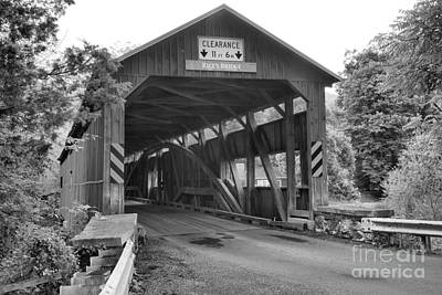 Photograph - Tyrone Township Covered Bridge Black And White by Adam Jewell