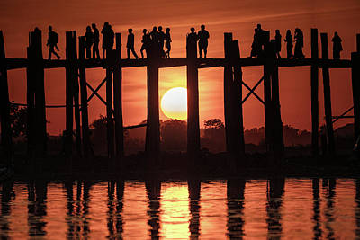 Photograph - U Bein Bridge Sunset by Chris Lord