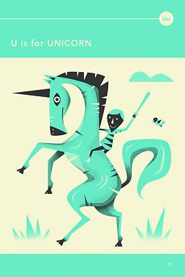 Hippo Wall Art - Digital Art - U Is For Unicorn 1 by Jazzberry Blue