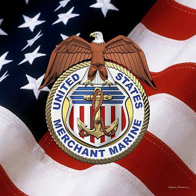 Digital Art - U. S.  Merchant Marine -  U S M M  Emblem Over American Flag by Serge Averbukh