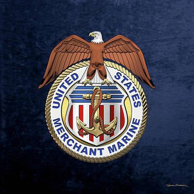 Digital Art - U. S.  Merchant Marine -  U S M M  Emblem Over Blue Velvet by Serge Averbukh