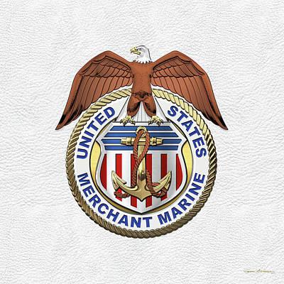 Digital Art - U. S.  Merchant Marine -  U S M M  Emblem Over White Leather by Serge Averbukh