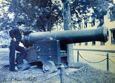 Painting - U S  Navy Sailor Stands Next To 42 Pound Cannon by Celestial Images