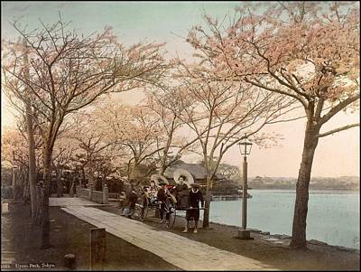 Painting - Ueno Park  Tokyo Handcolored Japanese Albumen Print From A Tourists Album Of The Early 20th Century  by Celestial Images