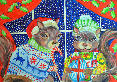 Painting - Ugly Sweater Contest by Li Newton