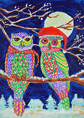 Painting - Ugly Sweater Owls by Li Newton