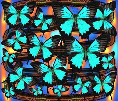 Blue Wall Art - Digital Art - Ulysses Multi Blue by Joan Stratton