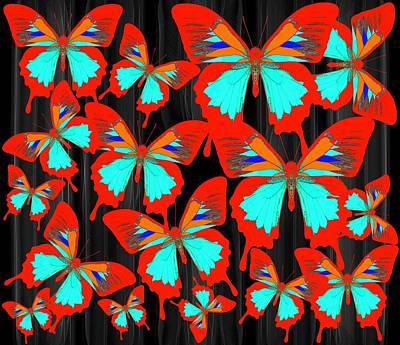 Blue Wall Art - Digital Art - Ulysses Multi Red by Joan Stratton