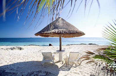 Lounge Chair Photograph - Umbrella And Beach Chairs by Brand X Pictures