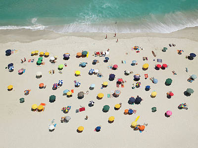 Beach Photograph - Umbrella Pattern On Beach by Roger Wright