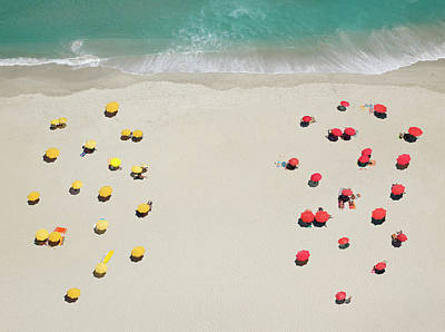 Photograph - Umbrella Patterns On Beach by Roger Wright