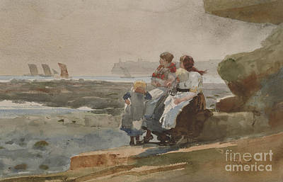 Painting - Under The Cliff, Cullercoats , 1881 by Winslow Homer