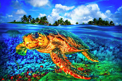 Photograph - Under The Waves In Glowing Watercolors by Debra and Dave Vanderlaan