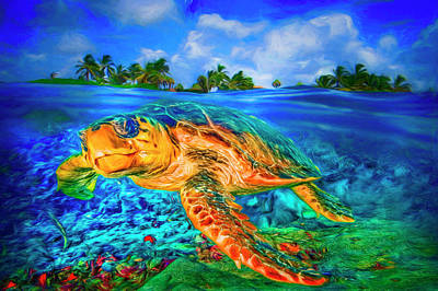 Photograph - Under The Waves Painting by Debra and Dave Vanderlaan