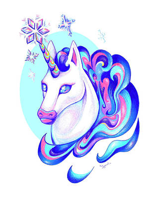 Drawing - Unicorn Winter by Sipporah Art and Illustration