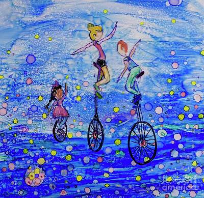 Sports Paintings - Unicycle Club by Patty Donoghue
