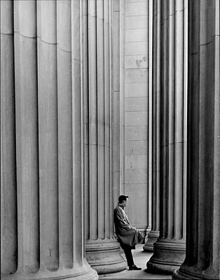 Photograph - Unident. Student Leaning Against Ionic C by Gjon Mili