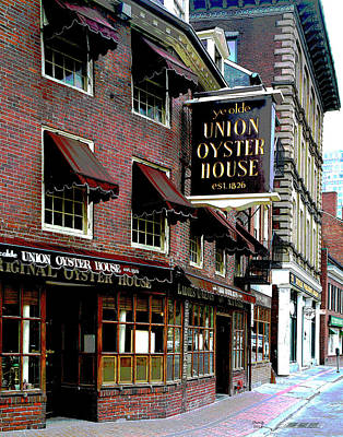 City Sunset Mixed Media - Union Oyster House Massachusetts  by Charles Shoup