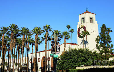Photograph - Union Station Palm Trees Exterior Los Angeles  by Chuck Kuhn