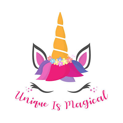 Drawing - Unique Is Magical - Baby Room Nursery Art Poster Print by Dadada Shop