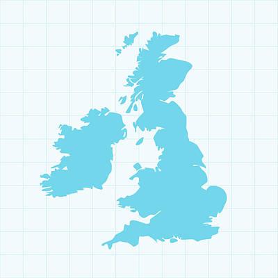 United Kingdom Map On Grid On Blue Art Print by Iconeer