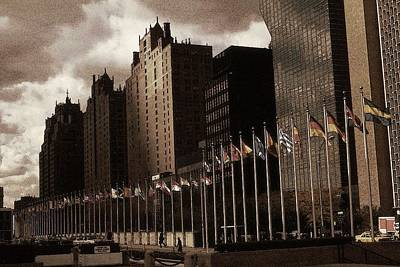 Drawing - United Nations Flags - New York City Vintage Drawing by Peter Potter