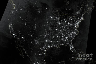 Photograph - United States At Night by NASA Earth Observatory