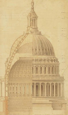 Drawing - United States Capitol, Section Of Dome, 1855 by Thomas Ustick Walter