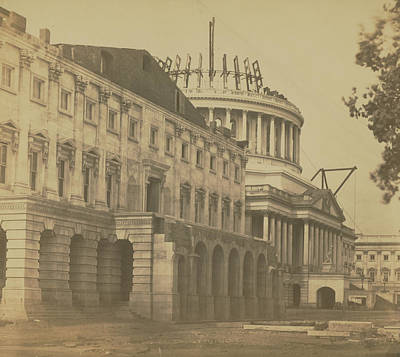 Photograph - United States Capitol Under Construction by Unkown