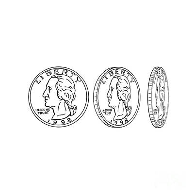 Politicians Digital Art - United States Dollar Coin Spinning Drawing by Aloysius Patrimonio