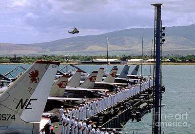Vintage Movie Stars - United States Navy Sailors and Tailplanes Muster on the Bow by Wernher Krutein