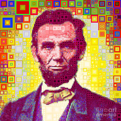 Photograph - United States President Abraham Lincoln In Abstract Squares 20190201sq by Wingsdomain Art and Photography