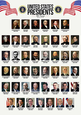 Politicians Digital Art - United States Presidents by Zapista Zapista