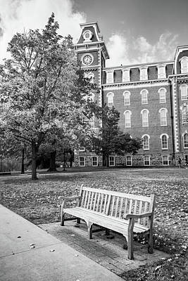 Photograph - University Of Arkansas Autumn At Old Main - Black And White by Gregory Ballos