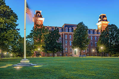 Photograph - University Of Arkansas Old Main - Dusk Light by Gregory Ballos