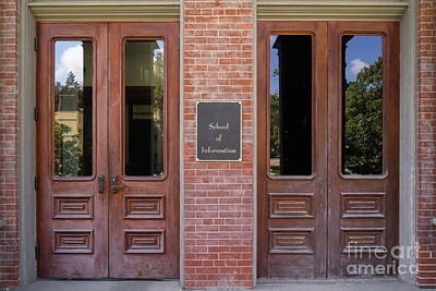 Photograph - University Of California Berkeley Historic South Hall School Of Information Entrance Doors  Dsc6939 by Wingsdomain Art and Photography