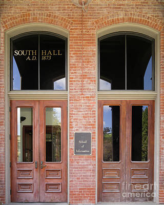 Photograph - University Of California Berkeley Historic South Hall School Of Information Entrance Doors Dsc6949 by Wingsdomain Art and Photography