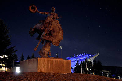 Sports Royalty-Free and Rights-Managed Images - University of Wyoming Campus Nighttime by Chance Kafka