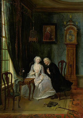 Painting - Unseemly Love, Perhaps A Scene Of The Widower Joost With Lucia by Cornelis Troost