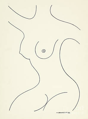 Drawing - Untitled Female Nude Outline by Manuel Bennett