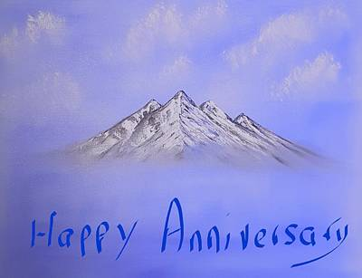 Comic Character Paintings - Up above so high special blue happy anniversary  by Angela Whitehouse