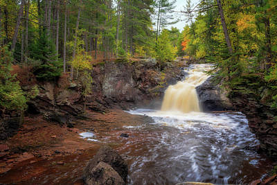 Photograph - Upper Amnicon Falls  At Autumn by Susan Rissi Tregoning