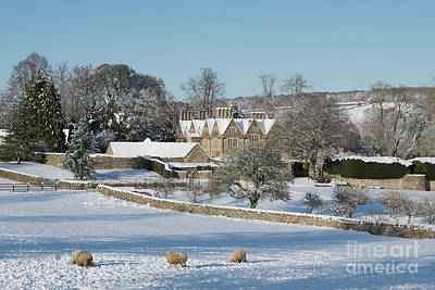 Photograph - Upper Slaughter Manor In The Snow by Tim Gainey